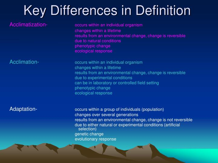 difference between adaptation and acclimatization