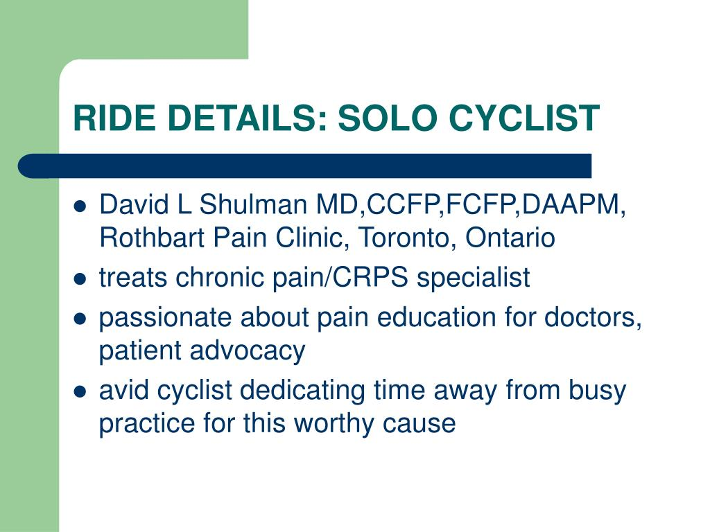 RIDE DETAILS: SOLO CYCLIST