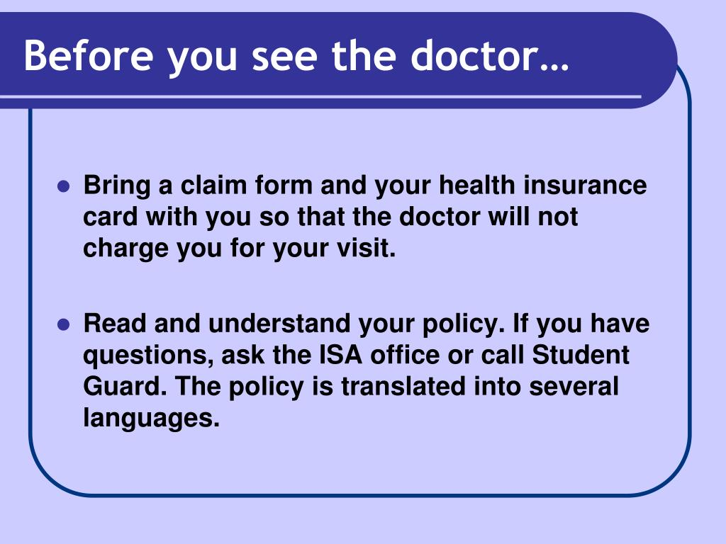 Before you see the doctor…
