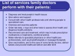 l ist of services family doctors perform with their patients