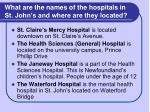 what are the names of the hospitals in st john s and where are they located