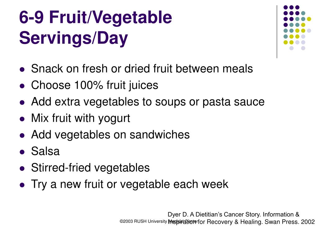 6-9 Fruit/Vegetable Servings/Day