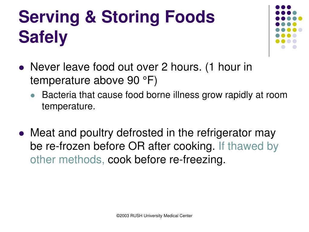 Serving & Storing Foods Safely