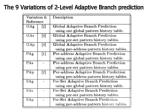 the 9 variations of 2 level adaptive branch prediction