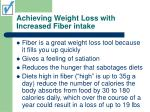 achieving weight loss with increased fiber intake