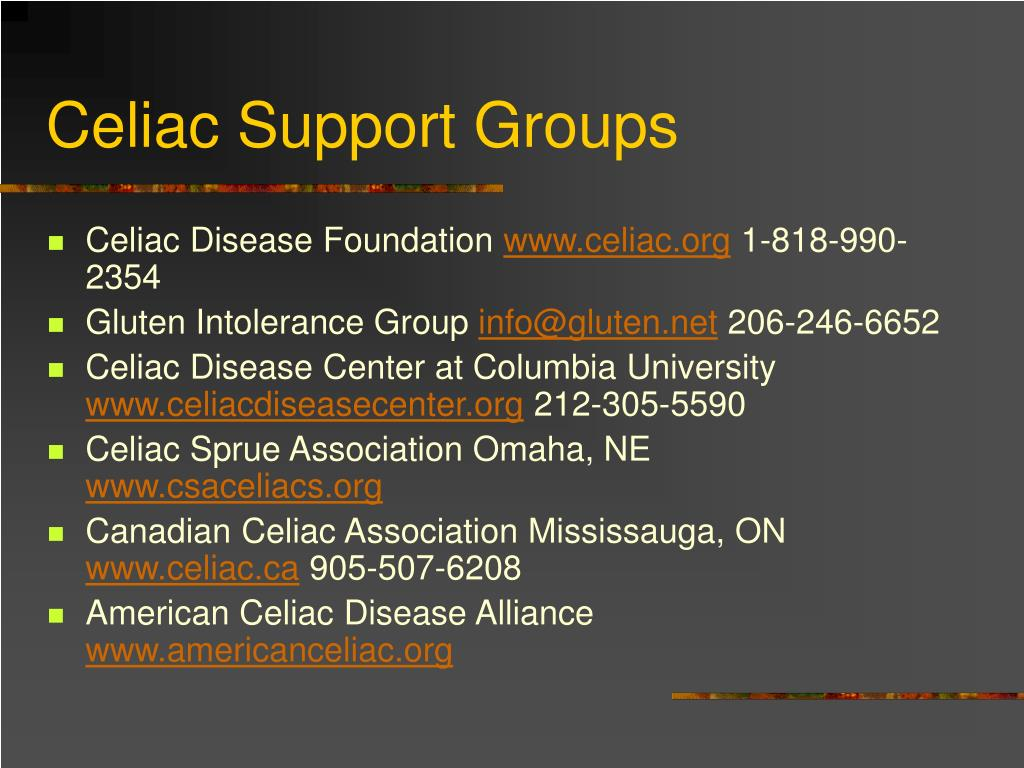 Celiac Support Groups