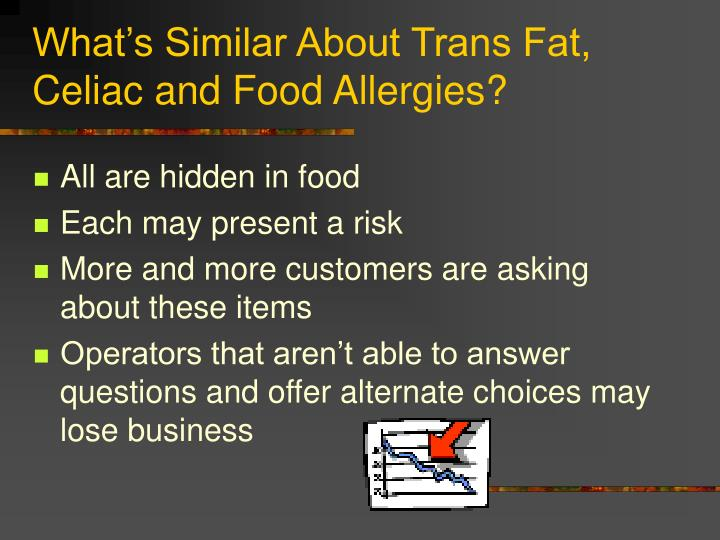 What s similar about trans fat celiac and food allergies