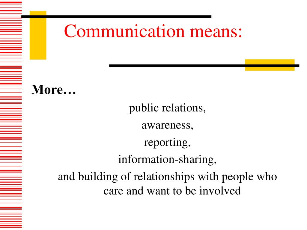 Communication means: