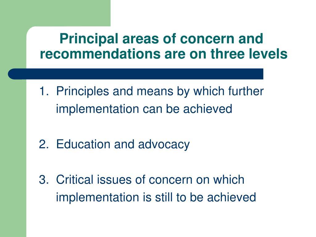 Principal areas of concern and