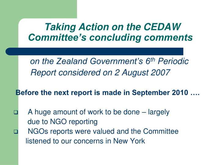 Taking action on the cedaw committee s concluding comments