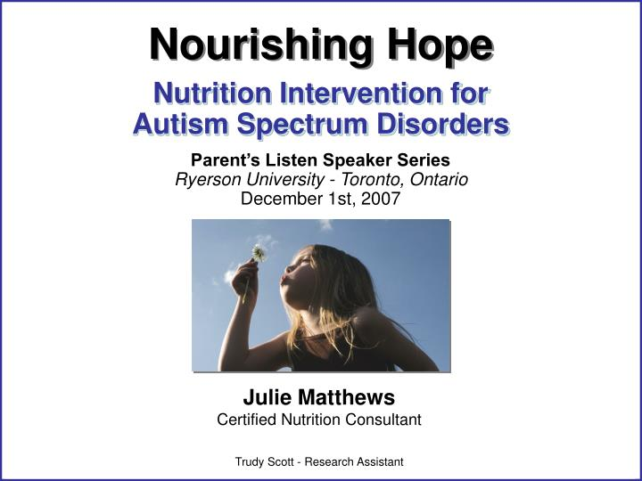 Nutrition intervention for autism spectrum disorders