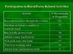 participation in rural farm related activities