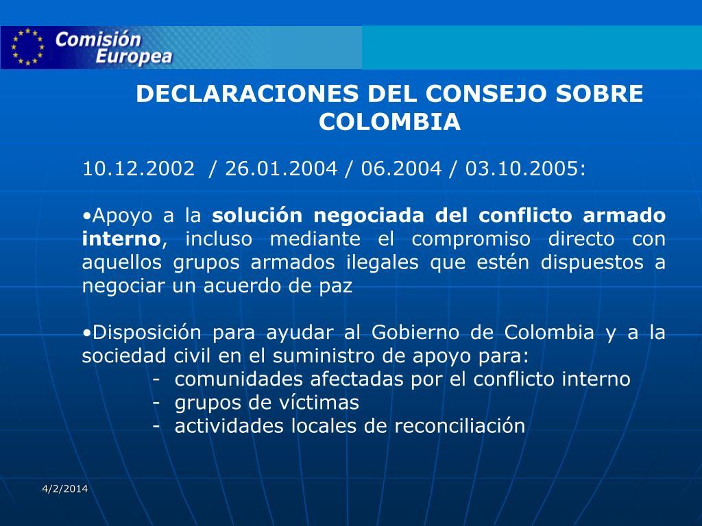 DECLARACIONES DEL CONSEJO SOBRE COLOMBIA
