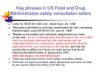 key phrases in us food and drug administration safety consultation letters