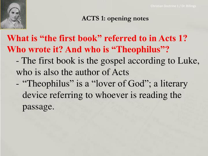 Acts 1 opening notes