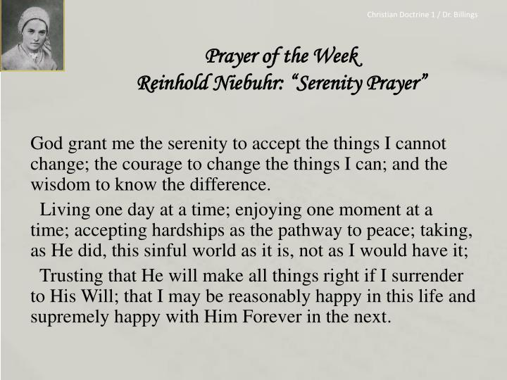 Prayer of the week reinhold niebuhr serenity prayer