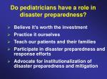 do pediatricians have a role in disaster preparedness