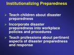 institutionalizing preparedness36