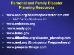 personal and family disaster planning resources