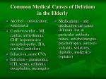 common medical causes of delirium in the elderly