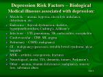 depression risk factors biological medical illnesses associated with depression