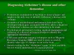 diagnosing alzheimer s disease and other dementias