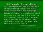 risk factors for alzheimer s disease