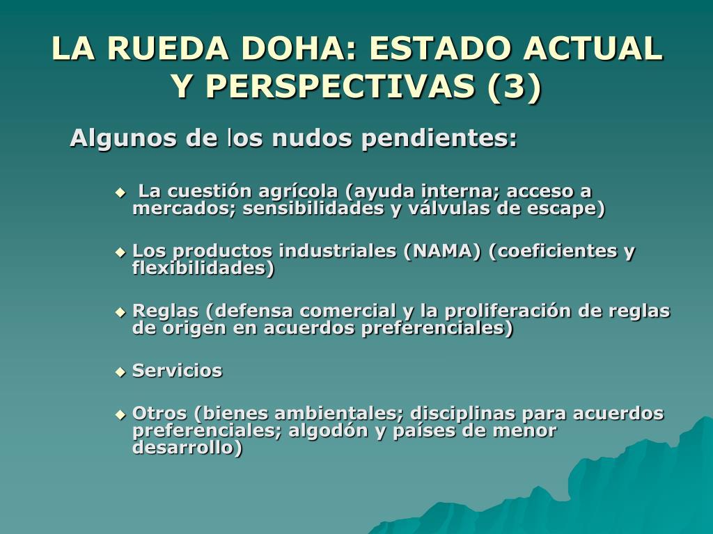 LA RUEDA DOHA: ESTADO ACTUAL Y PERSPECTIVAS (3)