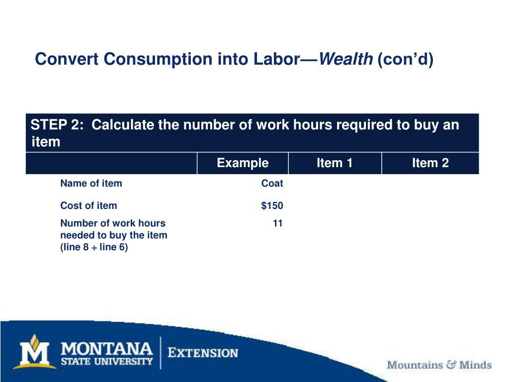 Convert Consumption into Labor—
