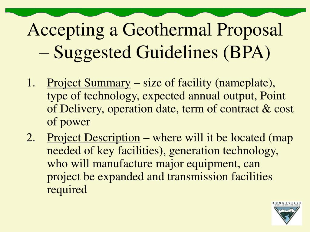 Accepting a Geothermal Proposal – Suggested Guidelines (BPA)