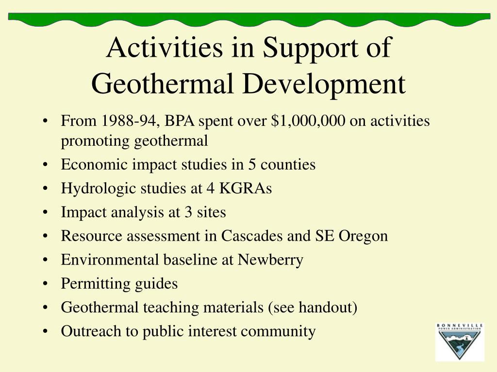 Activities in Support of Geothermal Development