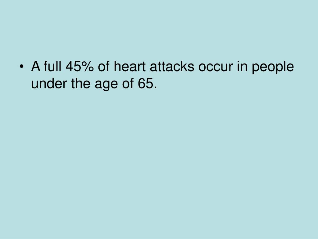 A full 45% of heart attacks occur in people under the age of 65.
