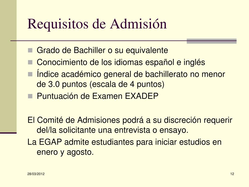 Requisitos de Admisión