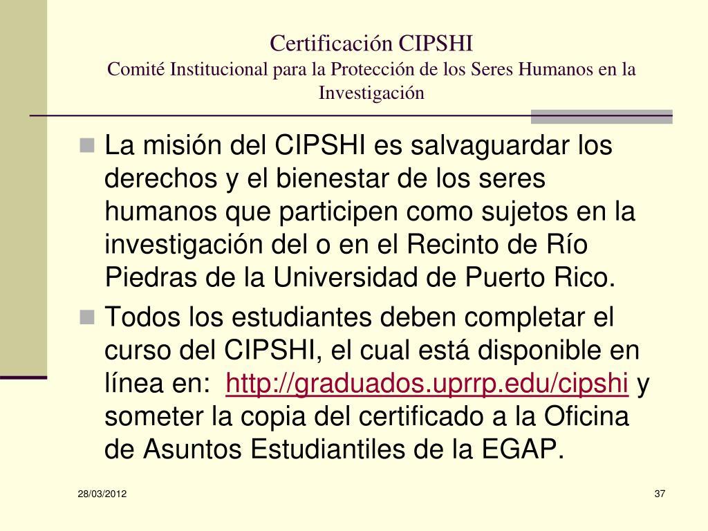 Certificación CIPSHI