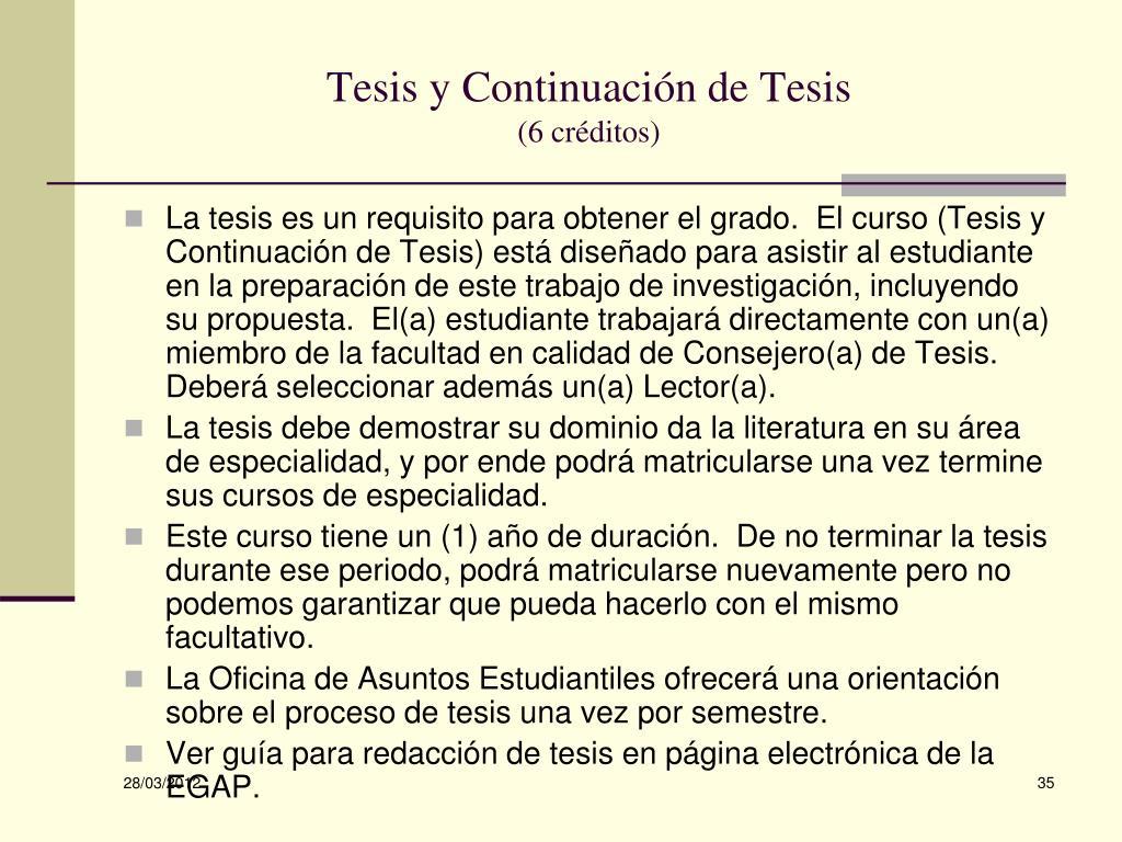 Tesis y Continuación de Tesis