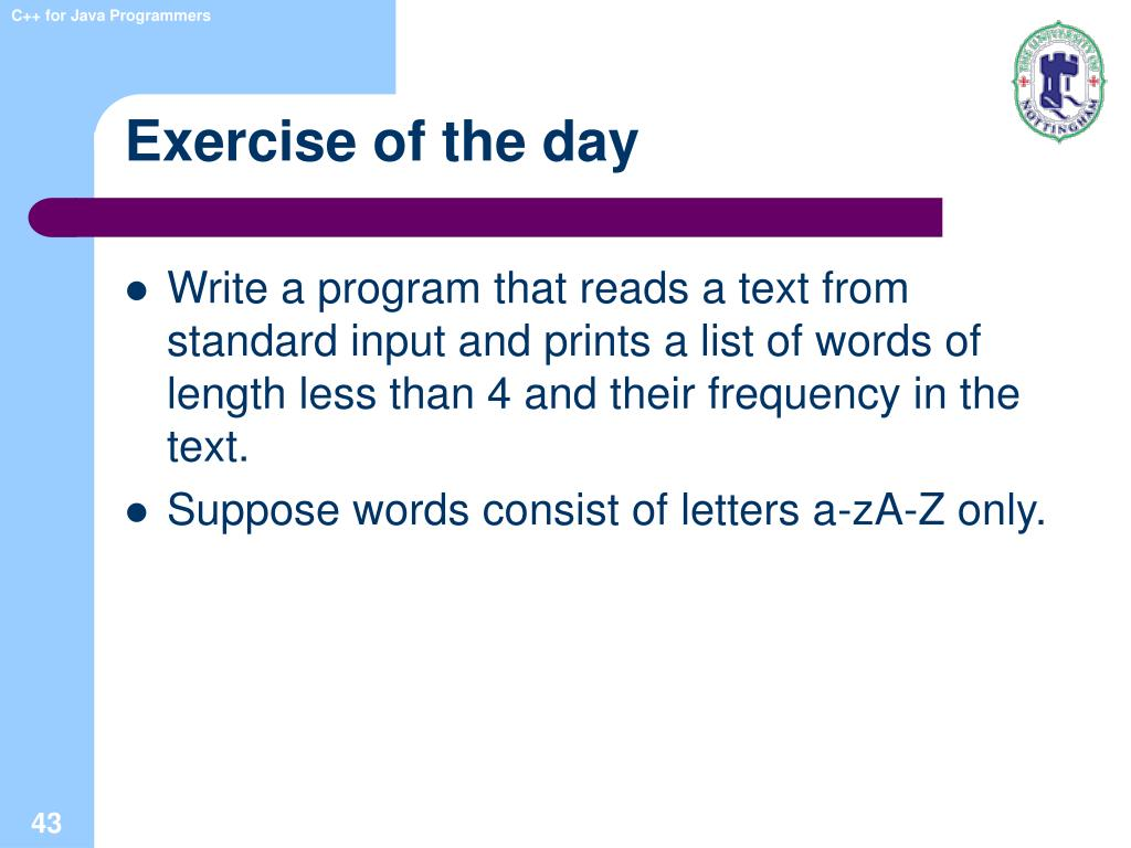Exercise of the day