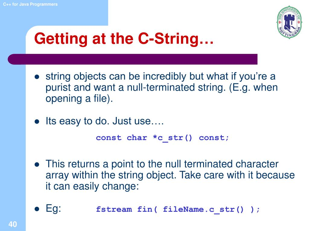 Getting at the C-String…