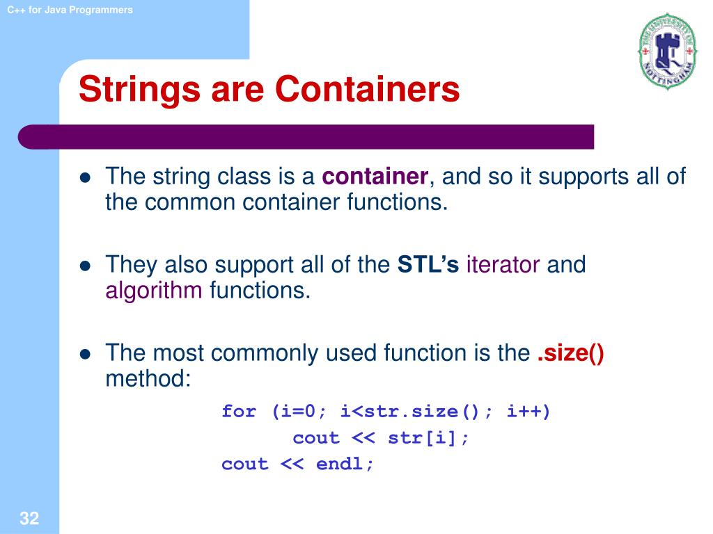 Strings are Containers
