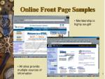 online front page samples
