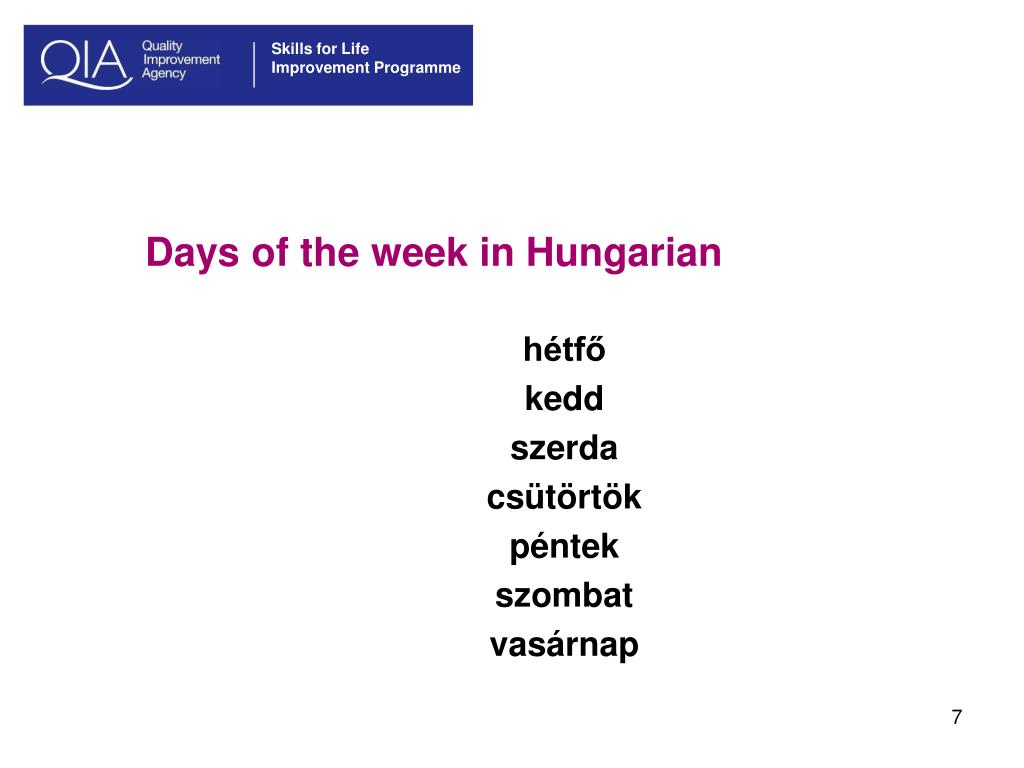 Days of the week in Hungarian
