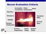 burner evaluation criteria