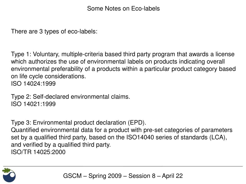 Some Notes on Eco-labels