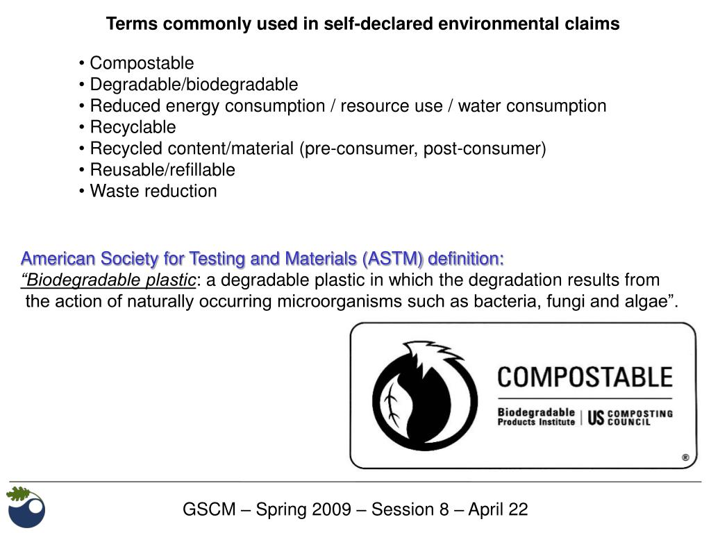 Terms commonly used in self-declared environmental claims