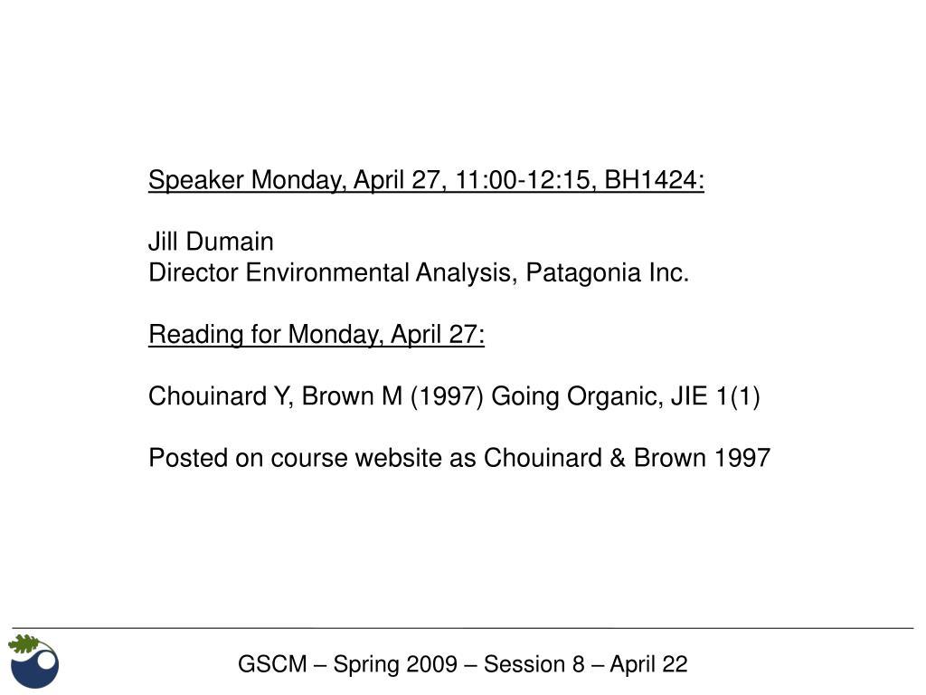 Speaker Monday, April 27, 11:00-12:15, BH1424: