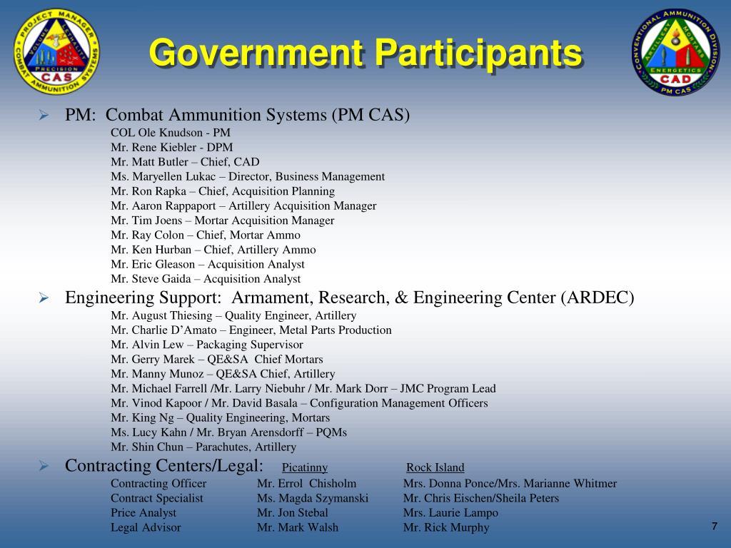 Government Participants