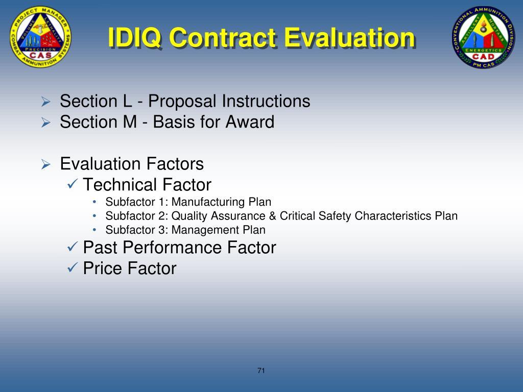IDIQ Contract Evaluation