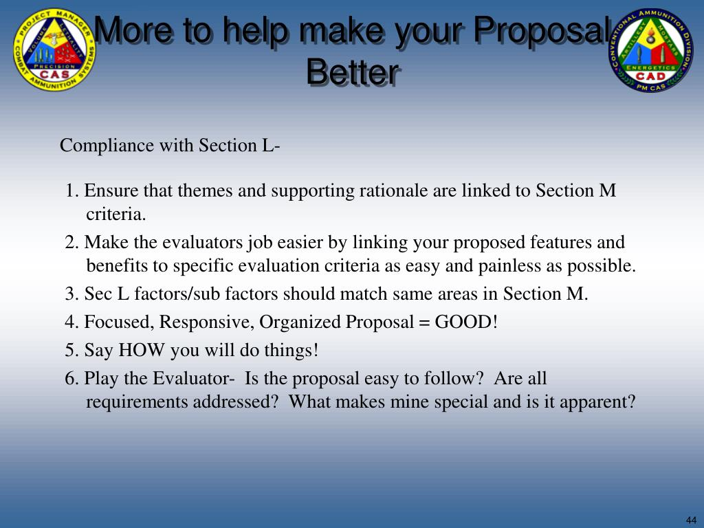 More to help make your Proposal Better