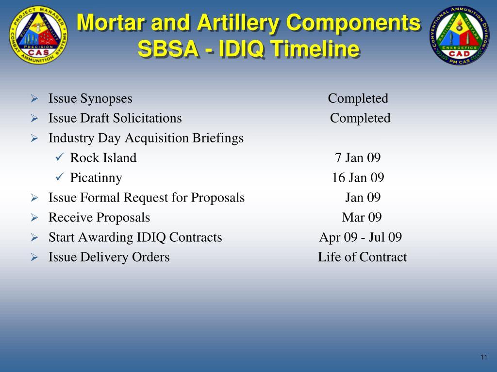 Mortar and Artillery Components