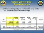 sample delivery order evaluation cont