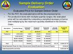 sample delivery order evaluation